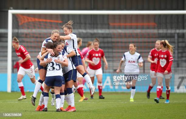 Siri Worm of Tottenham Hotspur celebrates with her team mates after scoring their side's first goal during the Barclays FA Women's Super League match...