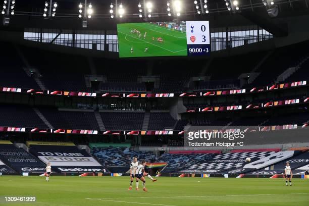 Siri Worm of Tottenham Hotspur fires a free kick during the Barclays FA Women's Super League match between Tottenham Hotspur Women and Arsenal Women...