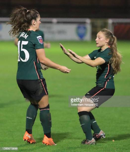 Siri Worm of Tottenham Hotspur is congratulated on her goal during the Barclays FA Women's Super League match between Bristol City Women and...