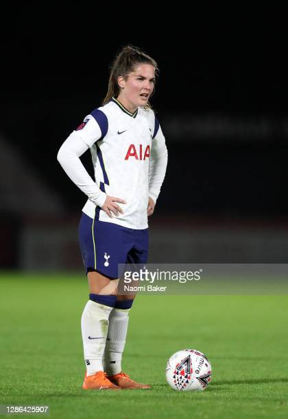 Siri Worm of Tottenham Hotspur looks on during the FA Women's Continental League Cup match between Arsenal and Tottenham Hotspur at Meadow Park on...