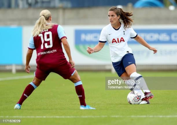 Siri Worm of Tottenham Hotspur Women and Adriana Leon of West Ham United Women during the pre-season friendly between West Ham United Women and...