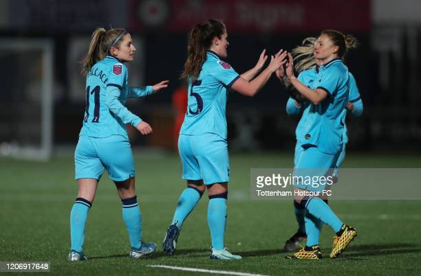 Siri Worm of Tottenham Hotspur Women celebrates after scoring their first goal during the Women's FA Cup Fifth Round match between Tottenham Hotspur...