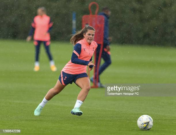 Siri Worm of Tottenham Hotspur Women during a training session on August 28, 2020 in Enfield, England.
