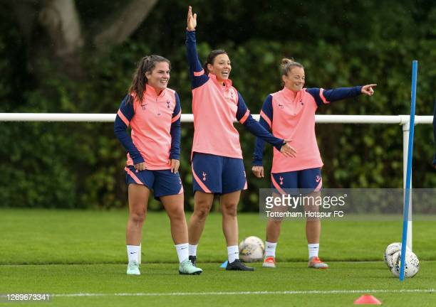 Siri Worm, Rachel Williams and Ria Percival of Tottenham Hotspur Women during a training session on August 28, 2020 in Enfield, England.