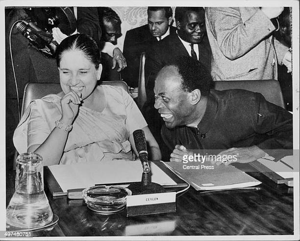 Sirimavo Bandaranaike, Prime Minister of Ceylon, with President of Ghana Kwame Nkrumah, attending a Commonwealth Prime Ministers Conference at...