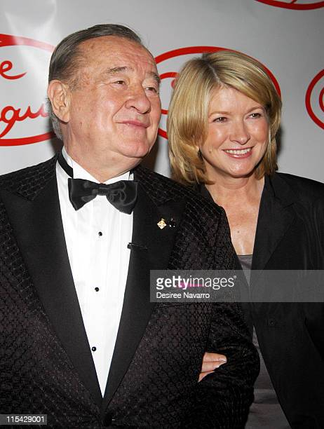 Sirio Maccioni and Martha Stewart during Le Cirque Opening Party at One Beacon Court at One Beacon Court in New York City New York United States