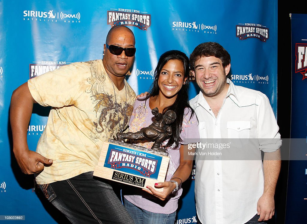 Sirius Radio host of the Morning Mash up Stanley T., Nicole Biggins, and Ryan Sampson attend the SIRIUS XM Radio celebrity fantasy football draft at Hard Rock Cafe - Times Square on July 21, 2010 in New York City.