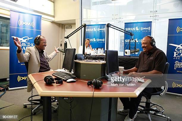 Sirius XM host Joe Madison interviews football legend Jim Brown at SIRIUS XM Studio on September 8 2009 in New York City