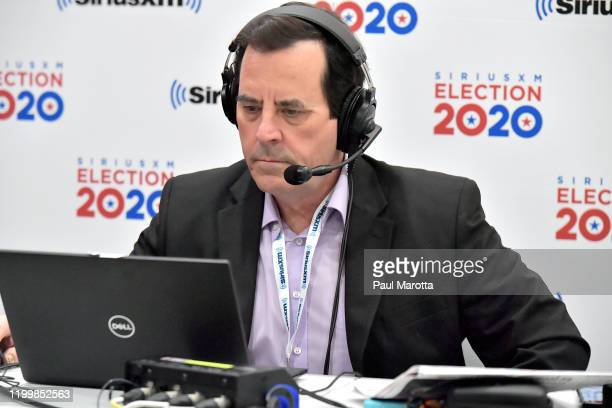 Sirius XM POTUS Morning Briefing on air host Tim Farley speaks live on air at the DoubleTree by Hilton on February 10 2020 in Manchester New Hampshire