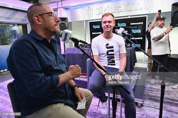 SiriusXM BPM channel host Geronimo talks with Armin van Buuren on SiriusXM's BPM channel at the SiriusXM Studios In New York City at SiriusXM Studios...