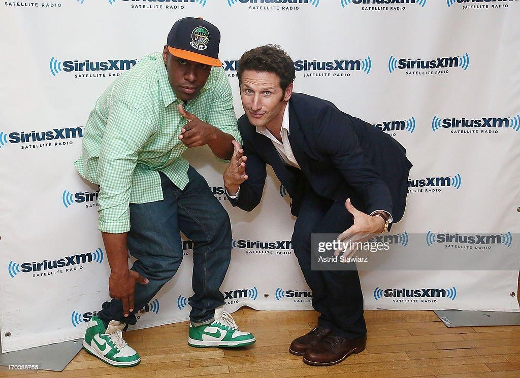 SiriusXM DJ Whoo Kid and actor Mark Feuerstein visit the SiriusXM Studios on June 12, 2013 in New York City.