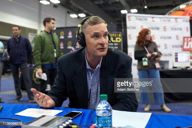 SiriusXM guest Christian Laettner during the NCAA final Four radio broadcast on radio row at the Minneapolis Convention Center on April 5 2019 in...