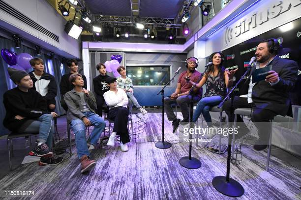 SiriusXM Hits 1 Hosts Stanley T Nicole Ryan and Ryan Sampson interview BTS during their visit to The Morning Mash Up on SiriusXM Hits 1 Channel at...