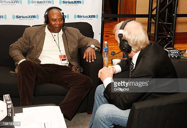 SiriusXM host and NFL Hall of Fame QB Fran Tarkenton broadcasts live from Radio Row during Super Bowl XLVI Week in Indianapolis with guest Chris...