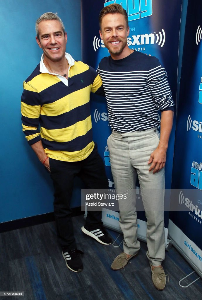 SiriusXM host Andy Cohen and Derek Hough pose for photos during a taping 'Radio Andy' at the SiriusXM Studios on June 13, 2018 in New York City.