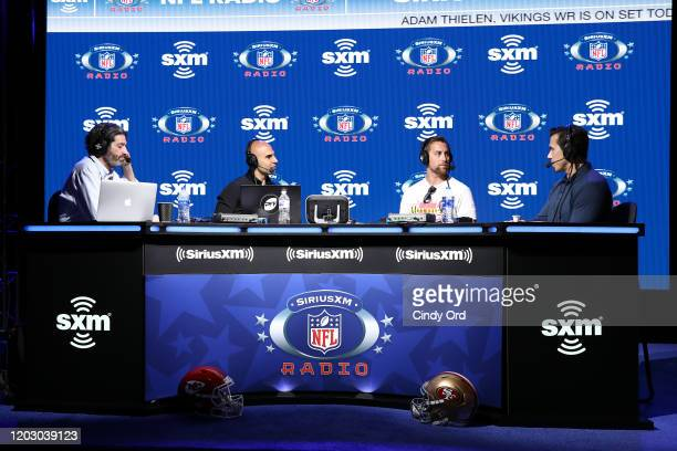 SiriusXM host Bruce Murray SiriusXM host Bruce Gradkowski NFL wide receiver Adam Thielen of the Minnesota Vikings and SiriusXM host Brady Quinn speak...