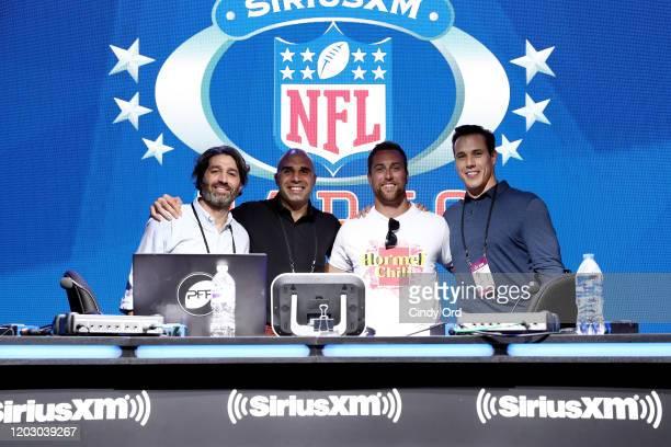 SiriusXM host Bruce Murray SiriusXM host Bruce Gradkowski NFL wide receiver Adam Thielen of the Minnesota Vikings and SiriusXM host Brady Quinn take...