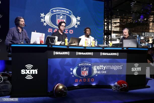 SiriusXM host Bruce Murray SiriusXM host Ed McCaffrey NFL player DK Metcalf of the Seattle Seahawks and SiriusXM host Charlie Weis speak onstage...