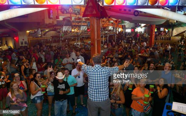 SiriusXM host Buzz Brainard speaks as he hosts The Music Row's Happy Hour Live on The Highway at the Margaritaville Casino at Flamingo Las Vegas on...