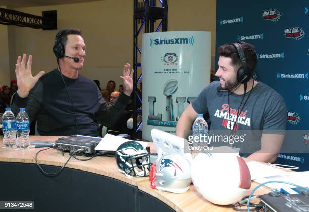 SiriusXM host Danny Kanell and collegiate football player Baker Mayfield of the Oklahoma Sooners attend SiriusXM at Super Bowl LII Radio Row at the...