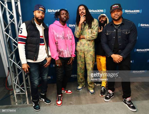 SiriusXM host Gray Rizzy rappers Meechy Darko Erick Arc Elliott and Zombie Juice of the rap group Flatbush Zombies pose for photos with SiriusXM host...