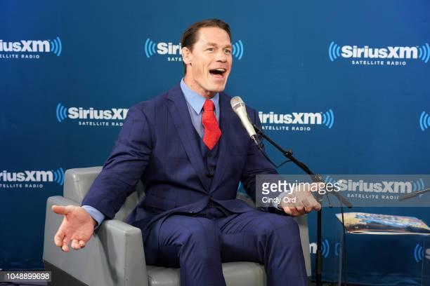 SiriusXM host Hoda Kotb talks with John Cena at the SiriusXM Studio on October 10, 2018 in New York City.