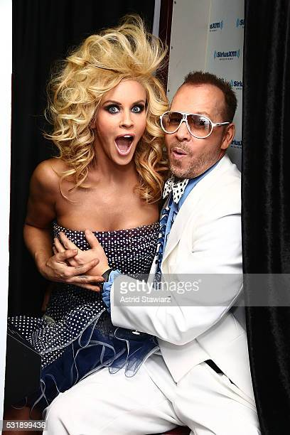 SiriusXM Host Jenny McCarthy poses with husband Donnie Wahlberg as they kick off SiriusXM's Prom Radio Channel at SiriusXM Studios on May 17 2016 in...