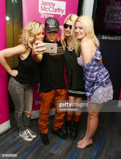 SiriusXM host Jenny McCarthy takes a selfie with actor/musician Corey Feldman Courtney Feldman and Jackie von Rueden during 'The Jenny McCarthy Show'...