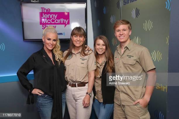 SiriusXM host Jenny McCarthy, Terri Irwin, Bindi Irwin and Robert Irwin pose for photos during 'The Jenny McCarthy Show' at SiriusXM studios on...
