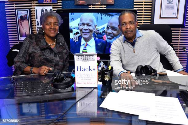 SiriusXM host Joe Madison The Black Eagle interviews former DNC Chair Donna Brazile live at SiriusXM Studios on November 21 2017 in Washington DC
