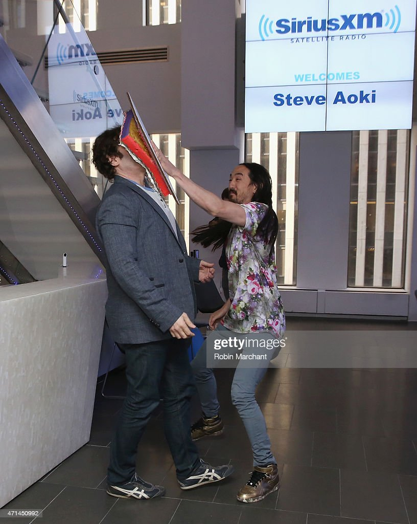 SiriusXM host Kid Kelly and Steve Aoki visit at SiriusXM Studios on April 28, 2015 in New York City.