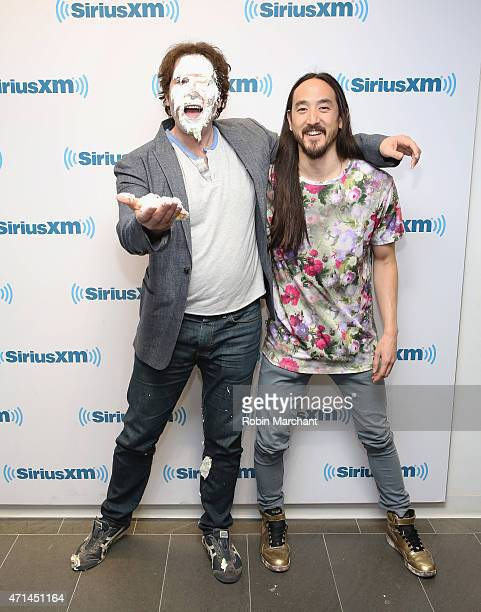SiriusXM host Kid Kelly and Steve Aoki visit at SiriusXM Studios on April 28 2015 in New York City
