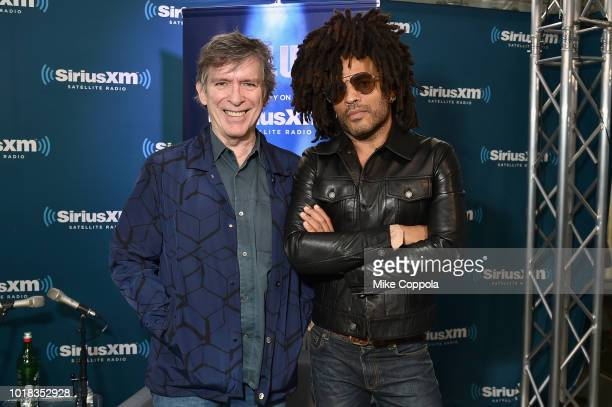 SiriusXM host Kurt Loder and Lenny Kravitz attend SiriusXM's Town Hall With Lenny Kravitz on August 17 2018 in New York City