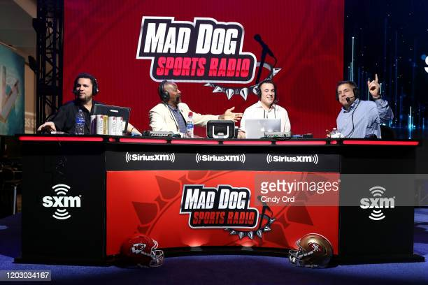 SiriusXM host Mike Babchik former NFL player Derrick Brooks SiriusXM host Evan Cohen and head coach of the New Orleans Saints Sean Payton speak...