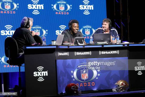 SiriusXM host Pat Kirwan, NFL saftey Xavier Woods of the Dallas Cowboys and SiriusXM host Jim Miller speak onstage during day 1 with SiriusXM at...