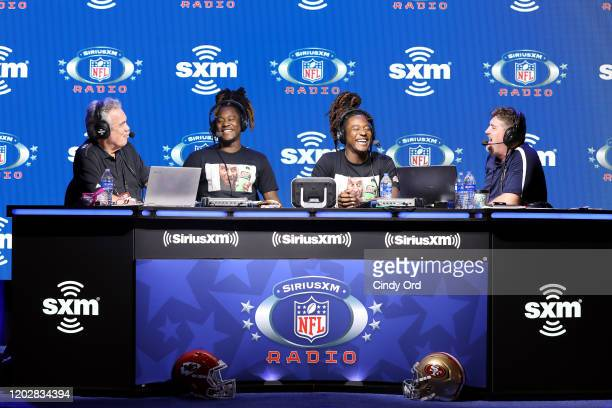 SiriusXM host Pat Kirwan Shaquem Griffin and Shaquill Griffin of the Seattle Seahawks and SiriusXM host Jim Miller speak onstage during day 1 with...