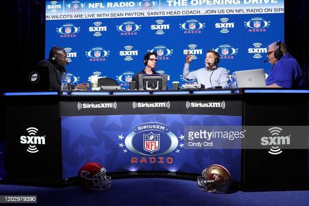 SiriusXM host Solomon Wilcots SiriusXM host Ed McCaffrey head coach of the New Orleans Saints Sean Payton and SiriusXM host Charlie Weis speak...