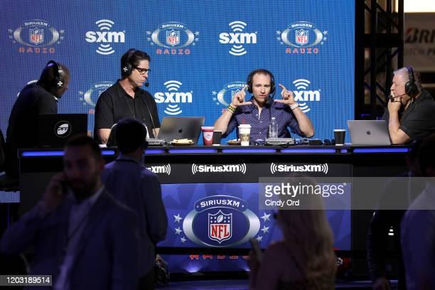 SiriusXM host Solomon Wilcots SiriusXM host Ed McCaffrey NFL quarterback Drew Brees of the New Orleans Saints and SiriusXM host Charlie Weis speak...