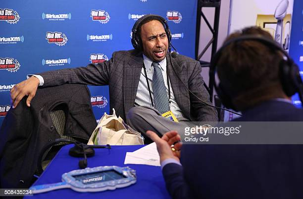 SiriusXM host Stephen A Smith hosts at the SiriusXM set at Super Bowl 50 Radio Row at the Moscone Center on February 4 2016 in San Francisco...