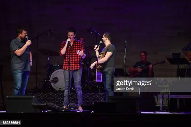 SiriusXM Host Storme Warren and Cody Cooper and George Birge of Waterloo Revival speak on stage at War Memorial Auditorium on November 2 2017 in...