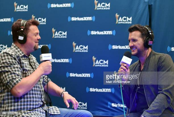 SiriusXM host Storme Warren and host Luke Bryan speak during SiriusXM's The Highway Channel broadcasts leading up to the ACM Awards at TMobile Arena...
