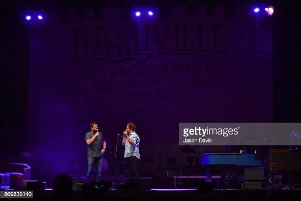 SiriusXM Host Storme Warren and Musician Joe Denim speak on stage during Nashville House Concerts at War Memorial Auditorium on November 2 2017 in...