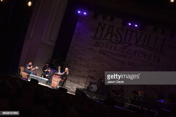 SiriusXM Host Storme Warren and Recording Artist Dierks Bentley speak on stage during Nashville House Concerts at War Memorial Auditorium on November...