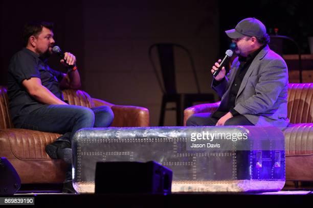 SiriusXM Host Storme Warren and Recording Artist Jim Quick speak on stage during Nashville House Concerts at War Memorial Auditorium on November 2...
