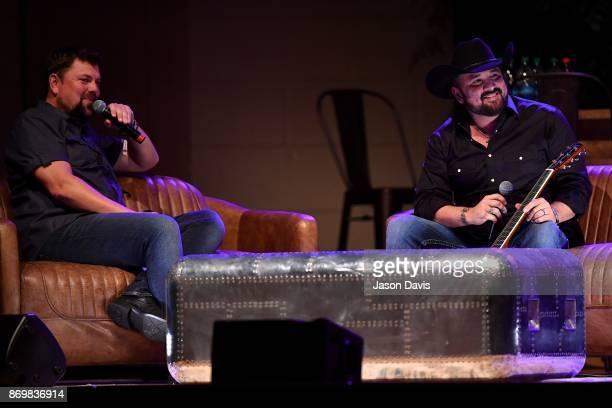 SiriusXM Host Storme Warren and Recording Artist Ray Scott speak on stage during Nashville House Concerts at War Memorial Auditorium on November 2...