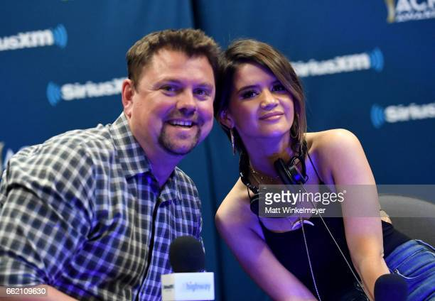 SiriusXM host Storme Warren and singersongwriter Maren Morris speak during SiriusXM's The Highway Channel broadcasts leading up to the ACM Awards at...