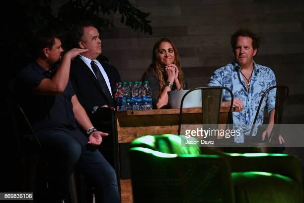 SiriusXM Host Storme Warren Bartender Maestro Dan Vocalist Vanessa Mandrell and Recording Artist Joe Denim sit sidestage during Nashville House...