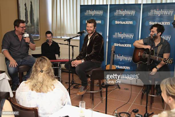 SiriusXM host Storme Warren interviews Brett Eldredge duing his performance on SiriusXM's The Highway channel at Patsy's Italian Restaurant on May 7...