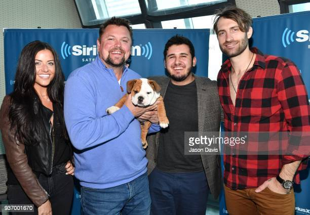 SiriusXM Host Storme Warren Recording Artist Ryan Hurd and his dog Pancake arrive at SiriusXM studios on March 21 2018 in Nashville Tennessee