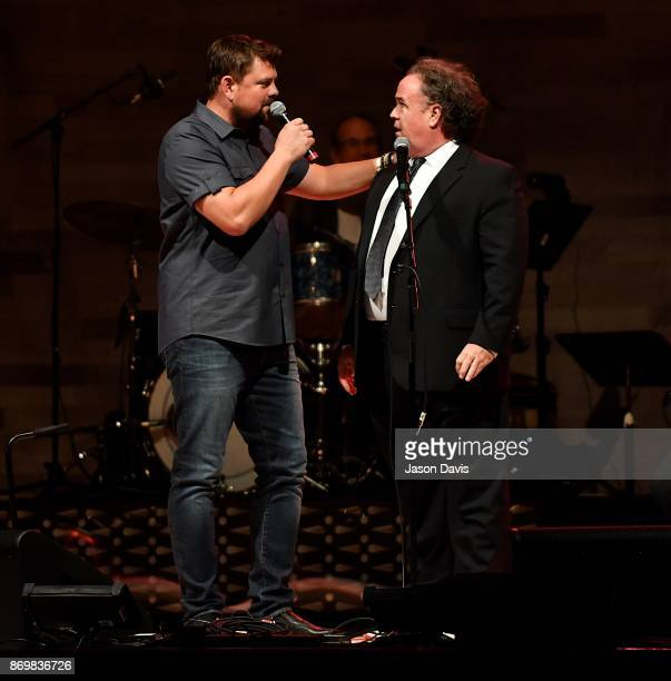 SiriusXM Host Storme Warren speaks with Bartender Maestro Dan on stage during Nashville House Concerts at War Memorial Auditorium on November 2 2017...
